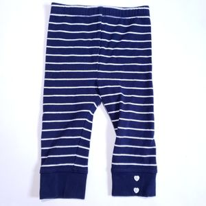12M Leggings with Heart buttons Striped Navy White